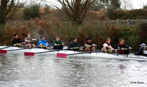 Mixed senior-novice crews racing in the Winter Head.
